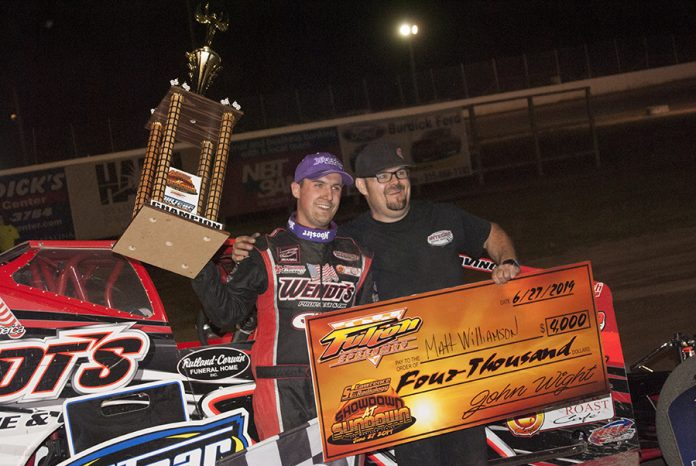 Mat Williamson in victory lane at Fulton Speedway. (DIRTcar photo)