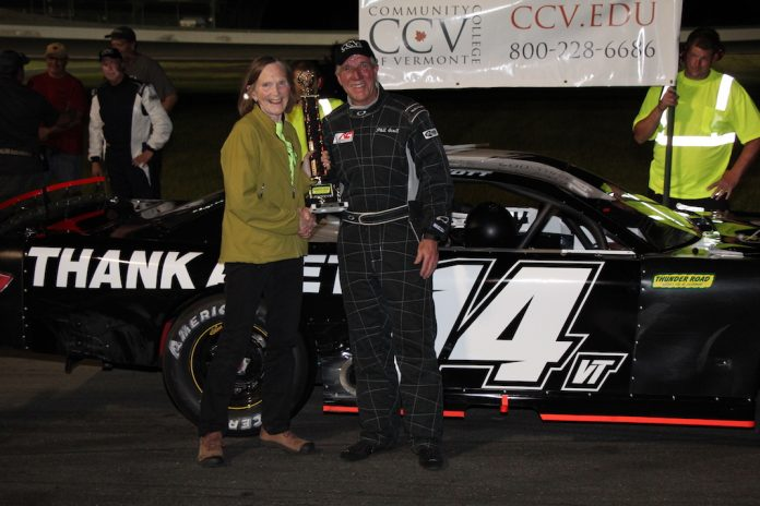 Vermont Governor Phil Scott won one of two late model features Thursday at Thunder Road Int'l Speedbowl. (Alan Ward photo)