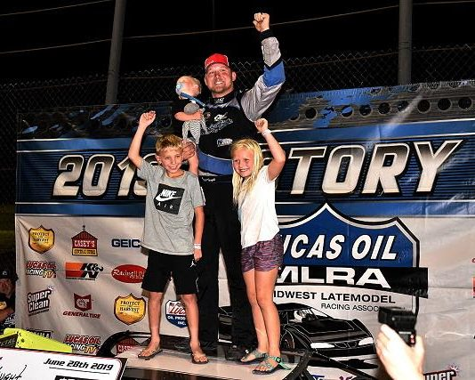 Will Caught celebrates victory at the Salina Highbanks. (Lloyd Collins photo)