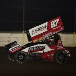Aaron Reutzel en route to victory at the Dirt Oval at Route 66. (Mark Funderburk photo)