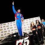 Jeremy Doss celebrates his $2,000 Nut Up Pro Late Model win Saturday at Madera Speedway. (Jason Wedehase Photo)