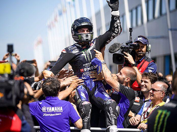 Maverick Vinales earned his first victory of the season Sunday at TT Circuit Assen. (Yamaha Photo)