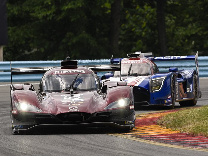 Harry Tincknell, Jonathan Bomarito and Olivier Pla co-drove the No. 55 Mazda RT24-P DPi to victory in the Sahlen's Six Hours of The Glen. (Dennis Bicksler Photo)
