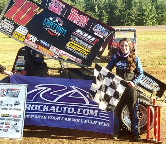 Morgan Turpen in victory lane Sunday at North Alabama Speedway. (USCS Photo)