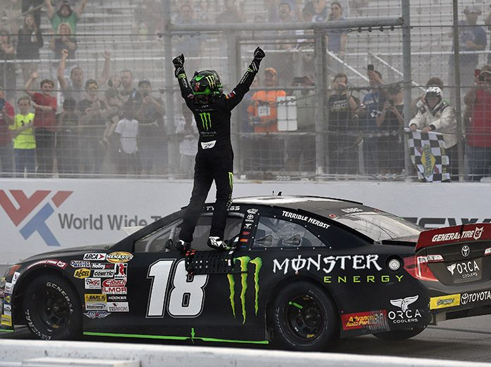 Ty Gibbs celebrates his first ARCA Menards Series triumph at World Wide Technology Raceway. (Monster Energy Photo)