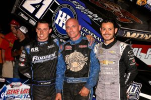 Brian Montieth (center) is joined on the podium by Kyle Larson (right) and Cory Eliason. (Dan Demarco photo)