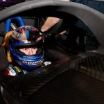 Scott Dixon tested a prototype version of the Aeroscreen in a simulator on Tuesday. (IndyCar Photo)