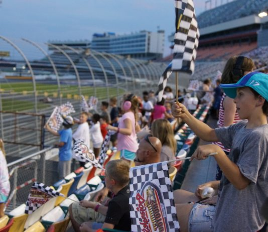 An enthusiastic crowd was on hand for Tuesday's Bojangles' Summer Shootout event at Charlotte Motor Speedway. (CMS photo)