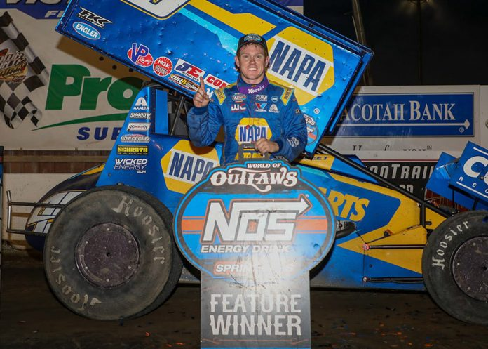 Brad Sweet in victory lane at Brown County Speedway. (DB3 Imaging photo)
