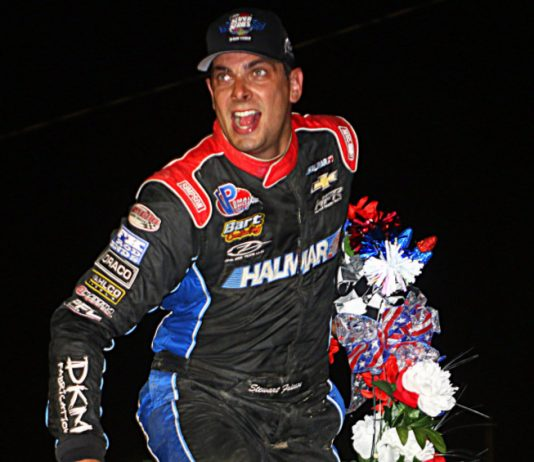 Stewart Friesen celebrates victory at Fonda Speedway. (Dave Dalesandro photo)
