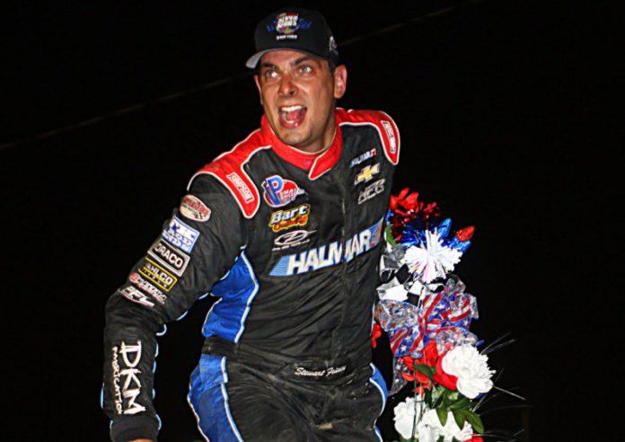 Stewart Friesen celebrates victory at Fonda Speedway. (Dave Dalesandro photo)