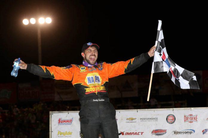 Gordy Gundaker celebrates victory at Macon Speedway. (Brendon Bauman photo)