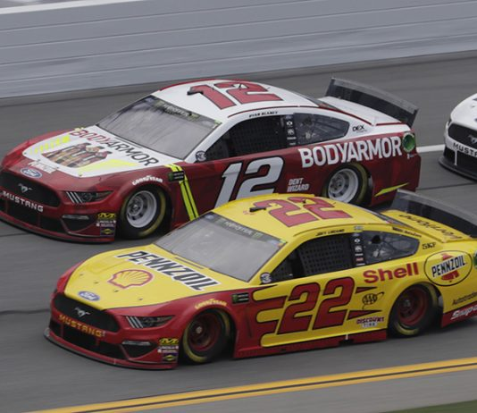 Joey Logano (22) and Ryan Blaney during Thursday's Monster Energy NASCAR Cup Series practice at Daytona Int'l Speedway. (HHP/Harold Hinson Photo)