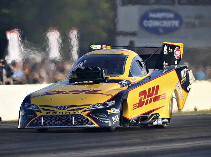 J.R. Todd sits atop the Funny Car qualifying ladder after day one at New England Dragway. (NHRA Photo)
