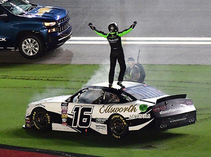 Ross Chastain celebrates after winning Friday's Circle K Firecracker 250 at Daytona Int'l Speedway. (HHP/David Tulis Photo)