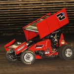 Wayne Johnson won Friday's 360 sprint car feature at Knoxville Raceway. (Julia Johnson photo)