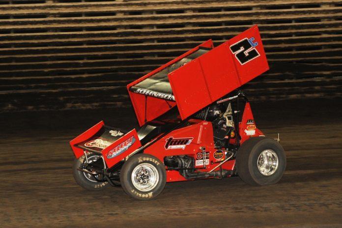 Wayne Johnson won Friday's 360 sprint car feature at Knoxville Raceway. (Julia Johnson photo)