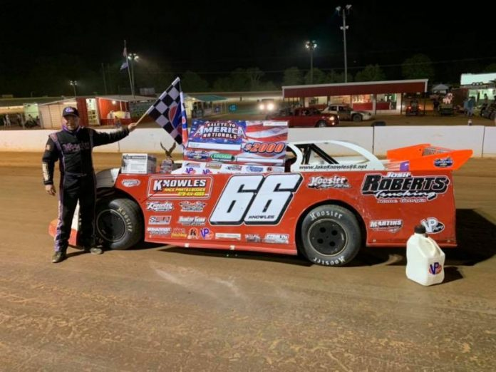Jakes Knowles led every lap of Friday's Durrence Layne Chevrolet Dirt Late Model Series event at Cochran Motor Speedway. (R.J. Sanders Photo)