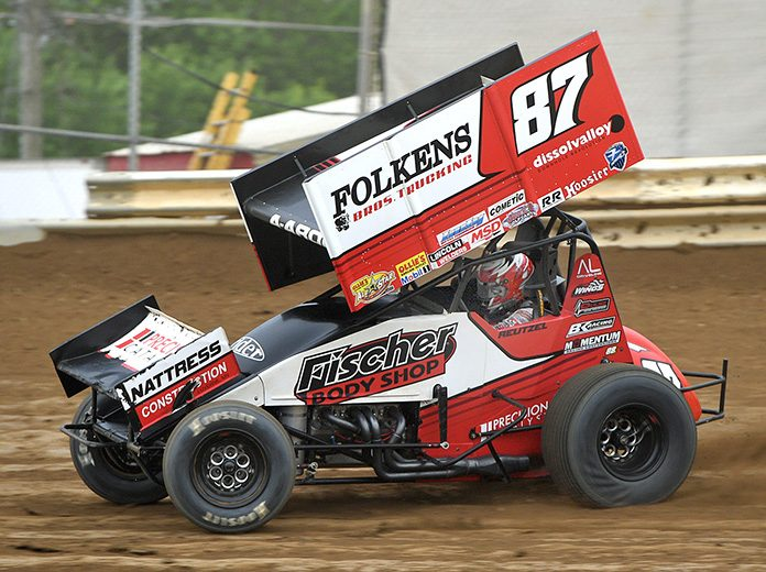 Aaron Reutzel, shown here earlier this year at Wayne County Speedway, won Friday's Ollie's Bargain Outlet All Star Circuit of Champions event at Lernerville Speedway. (Mike Campbell Photo)