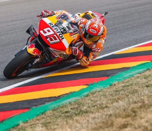 Marc Marquez en route to the pole on Saturday at the Sachsenring. (Honda Photo)