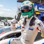 Jesse Krohn celebrates after winning the GT Le Mans pole Saturday at Canadian Tire Motorsport Park. (Sarah Weeks Photo)