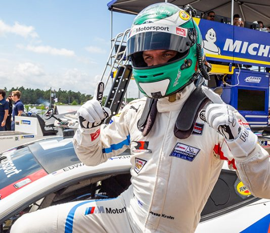 Jesse Krohn celebrates after winning the GT Le Mans pole Saturday at Canadian Tire Motorsport Park. (Sarah Weeks Photo)