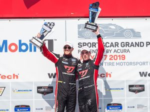 Mikey Taylor and Britt Casey Jr. pose in victory lane on Saturday at Canadian Tire Motorsport Park. (Sarah Weeks Photo)