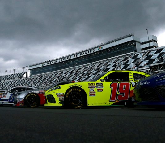 Rain clouds linger over Daytona Int'l Speedway on Friday. Poor weather conditions have forced the postponement of Saturday's Coke Zero Sugar 400. (NASCAR Photo)
