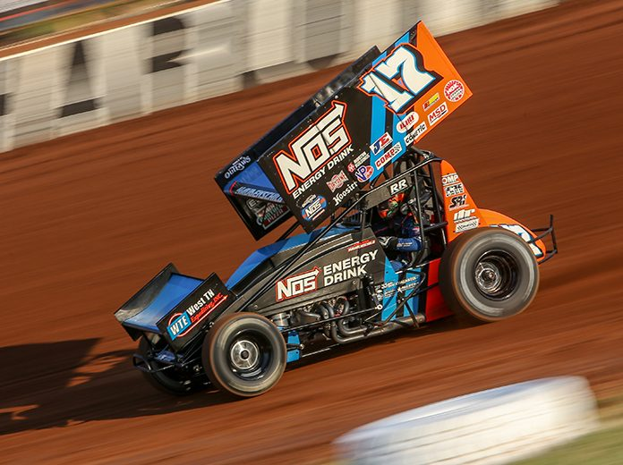 Sheldon Haudenschild, shown here in May at The Dirt Track at Charlotte, snapped a World of Outlaws drought dating back to last August on Saturday. (Adam Fenwick Photo)