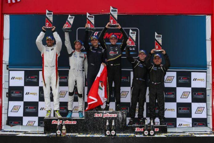 Austin McCusker & Rodrigo Pflucker (center) won Saturday's IMSA Prototype Challenge event at Canadian Tire Motorsport Park. (IMSA Photo)