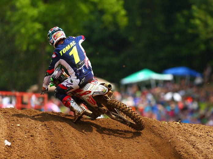 Eli Tomac earned his third Lucas Oil Pro Motocross victory of the season on Saturday during the RedBud National. (Jeff Kardas Photo)