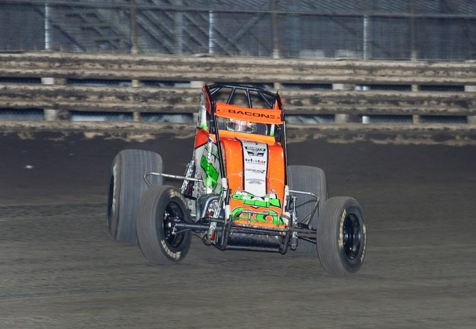 Brady Bacon dominated the Corn Belt Nationals Saturday at Knoxville Raceway. (Ken Berry photo)