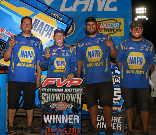 Brad Sweet and the Kasey Kahne Racing team in victory lane. (DB3 Imaging photo)