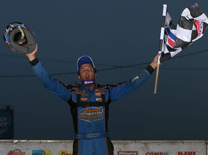 Nick Hoffman celebrates his DIRTcar Summit Racing Equipment Modified Nationals victory Sunday at Quincy Raceways. (Brendon Bauman Photo)