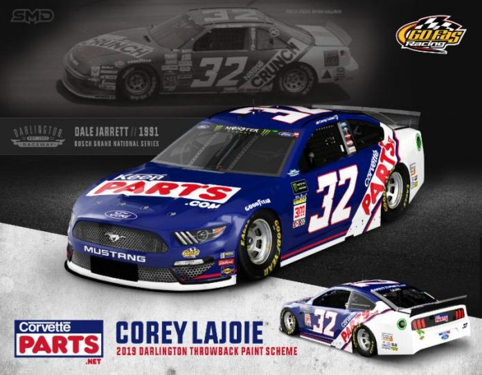 Go Fas Racing and Corey LaJoie will honor Dale Jarrett at Darlington Raceway.