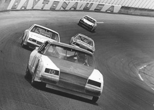 Greg Sacks en route to victory in the 1985 Firecracker 400 at Daytona Int'l Speedway. (NASCAR Photo)