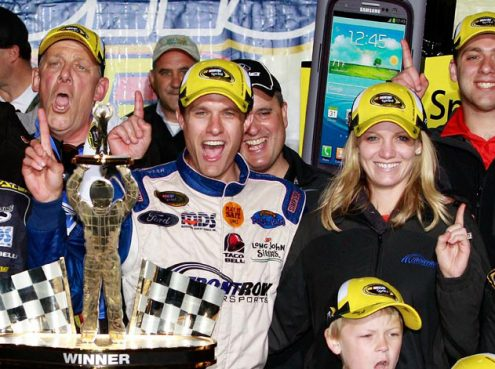 David Ragan in victory lane at Talladega Superspeedway in 2013. (NASCAR Photo)