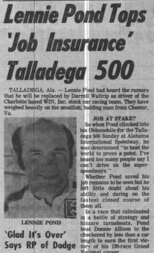 National Speed Sport News' coverage of Lennie Pond's victory at Talladega.