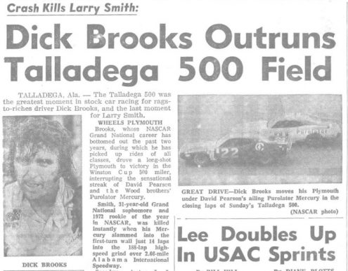 National Speed Sport News' coverage of Dick Brooks' victory at Talladega Superspeedway.