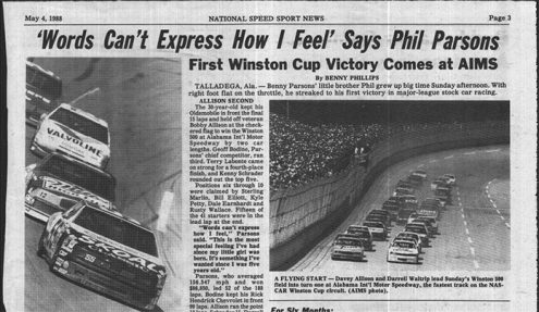 National Speed Sport News' coverage of Phil Parsons' victory at Talladega Superspeedway.