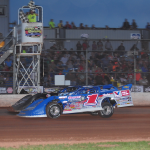 Brandon Sheppard takes the checkered flag at ABC Raceway. (Tom Krob photo)