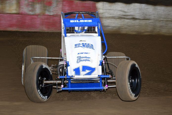 Nick Bilbee won Wednesday night's MSCS sprint car feature at the Terre Haute (Ind.) Action Track. (David Nearpass photo)