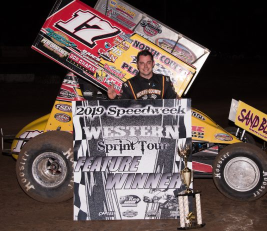 Justin Sanders in victory lane at Cottage Grove Speedway. (Devin Mayo photo)