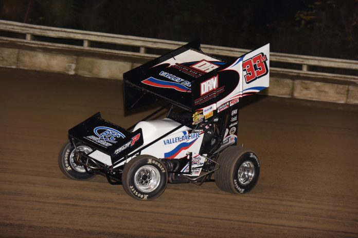 Mason Daniel, shown earlier this season, won Thursday's Sprint Invaders feature at Lee County Speedway. (Paul Arch photo)