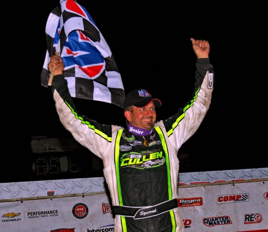 Brian Shirley in victory lane at I-96 Speedway. (Jim DenHamer photo)