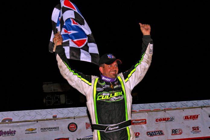 Brian Shirley in victory lane at I-96 Speedway. (Jim DenHamer photo)