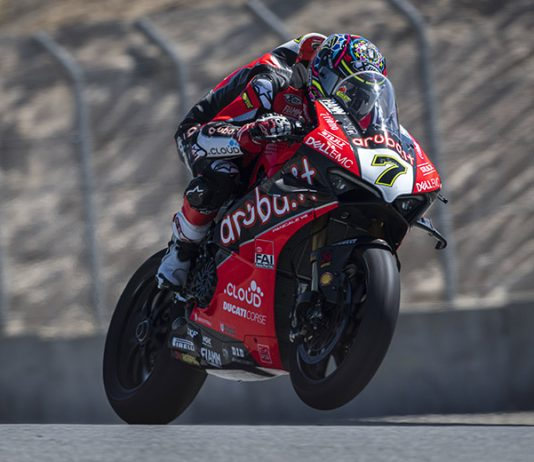 Chaz Davies was fastest in World Superbike practice Friday at WeatherTech Raceway Laguna Seca. (Ducati Photo)