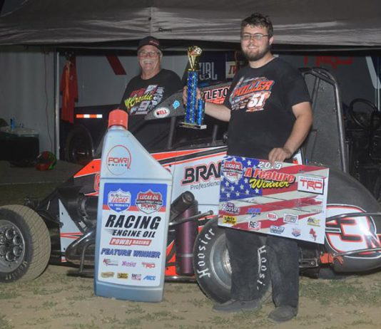 Jake Neuman earned his first POWRi victory of the year Friday at Valley Speedway when Cannon McIntosh came up light at the scales. (POWRi Photo)