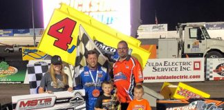 Lee Grosz in victory lane Friday at the Jackson Motorplex.