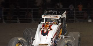 Thomas Meseraull on his way to victory Friday at Gas City I-69 Speedway. (Mike Campbell Photo)
